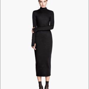H&M Trend Premium Body Con Midi Dress SZ 6 Black